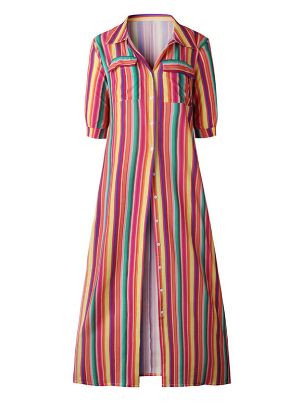 'Emily' Color Striped Button Front Maxi Dress (4 Colors)