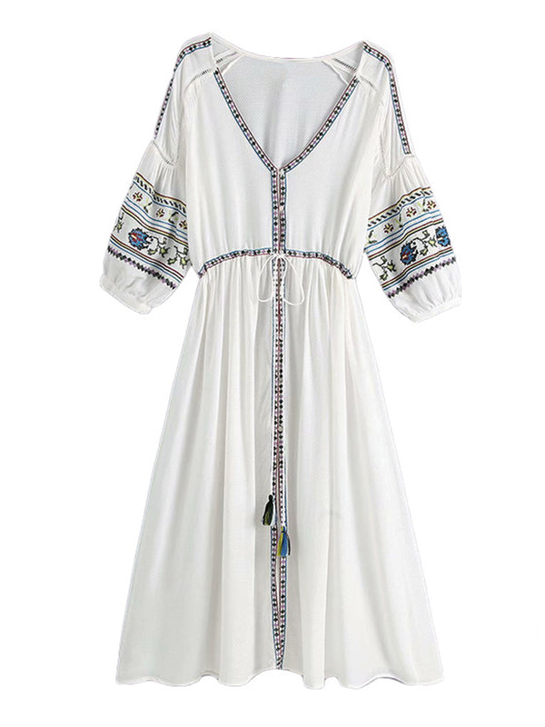 'Cora' Embroidered Tassel Front Tied Maxi Dress