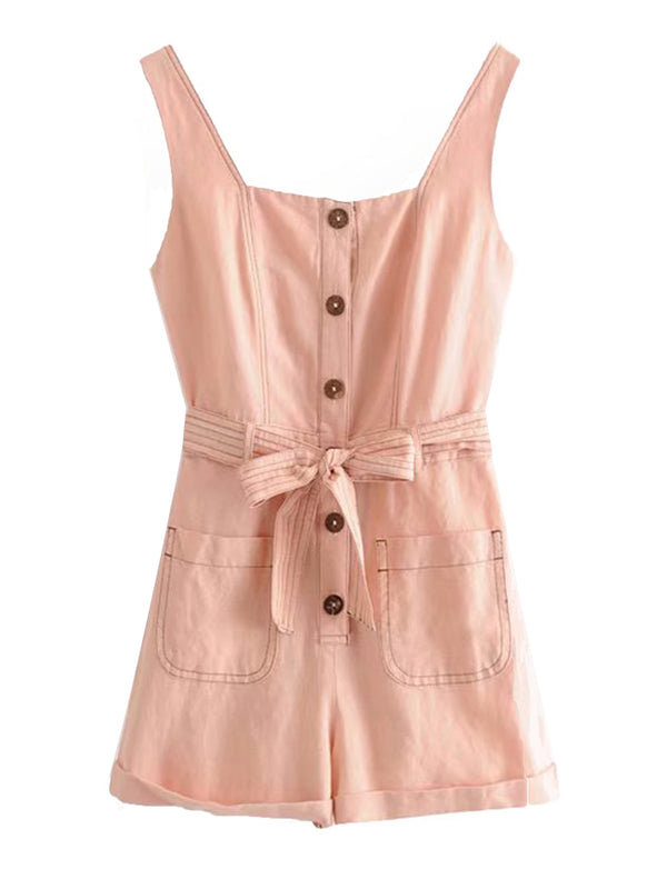 'Evelyn' Button Tied Waist Romper with Pockets