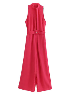 'Jennifer' High Neck Belted Jumpsuit with Pleated Front