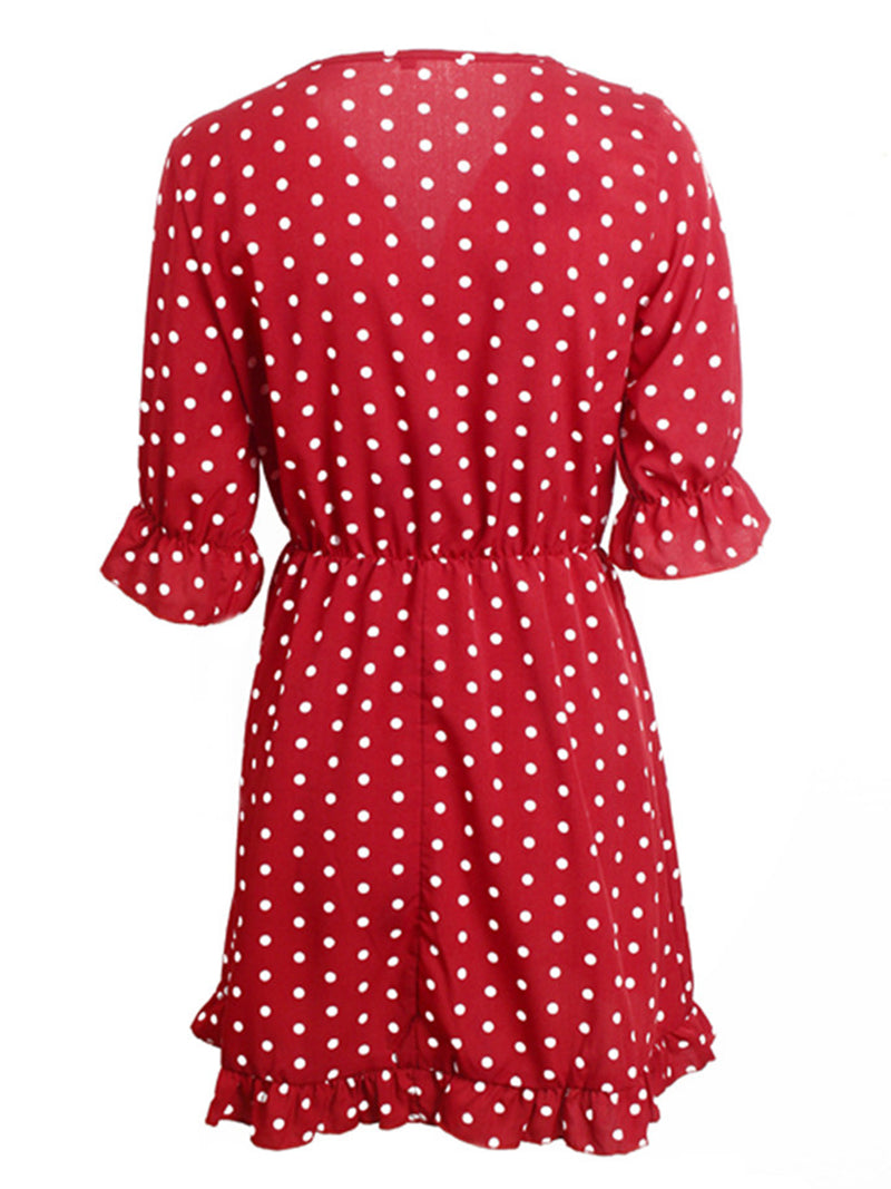 'Jolina' Polka Dot Wrap Front Frill Mini Dress (4 colors)
