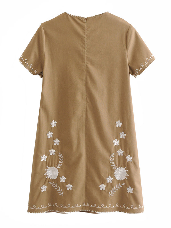 'Jaime' Embroidered Short Sleeve Linen Mini Dress