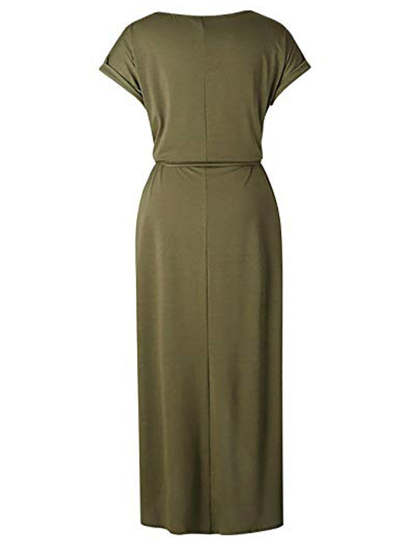 'Laura' Casual Round Neck Short Sleeves Waist Tied Midi Dress (6 Colors)