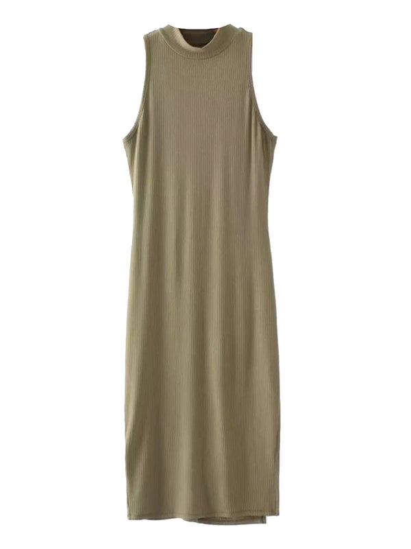'Perla' High Neck Ribbed Tank Midi Dress (6 Colors)