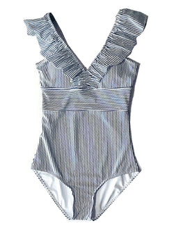 'Esther' Striped Ruffle Swimsuit
