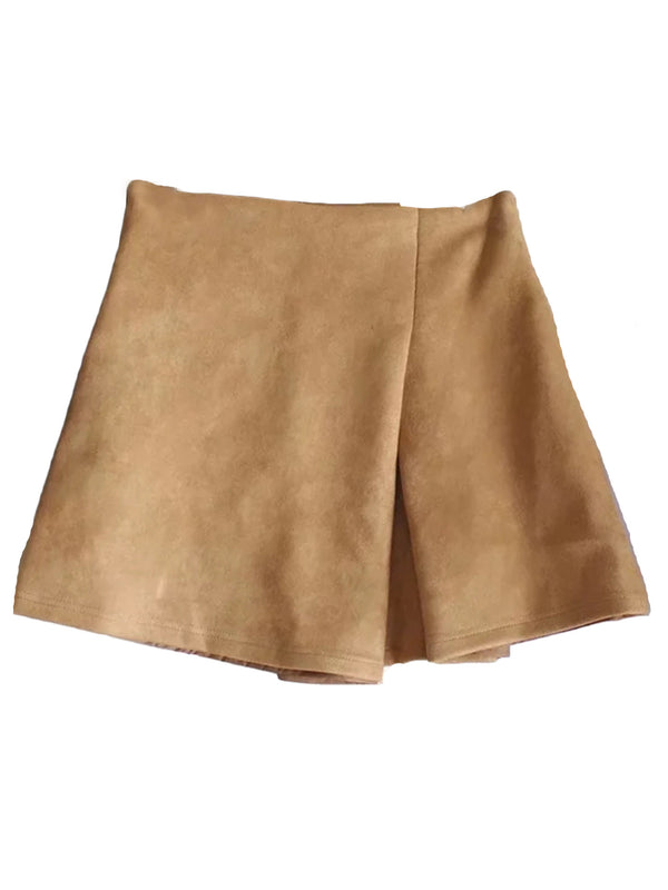 'Trinity' Faux Suede Mini Skirt with Fold Over Detail (2 Colors)