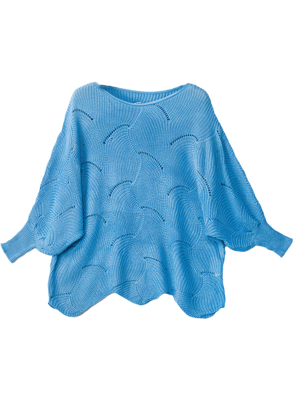 'Zoey' Open Work Scallop Hem Sweater (5 Colors)