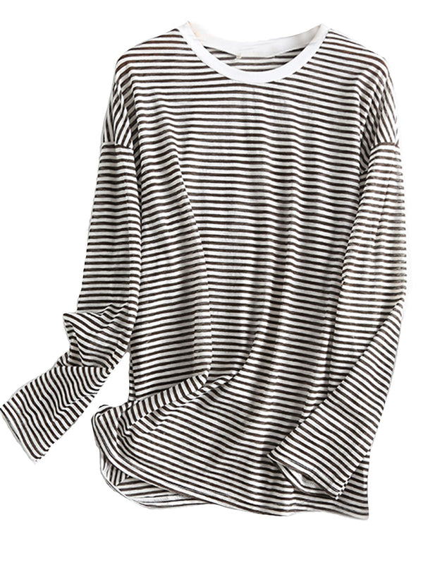 'Marie' Round Neck Striped T-Shirt