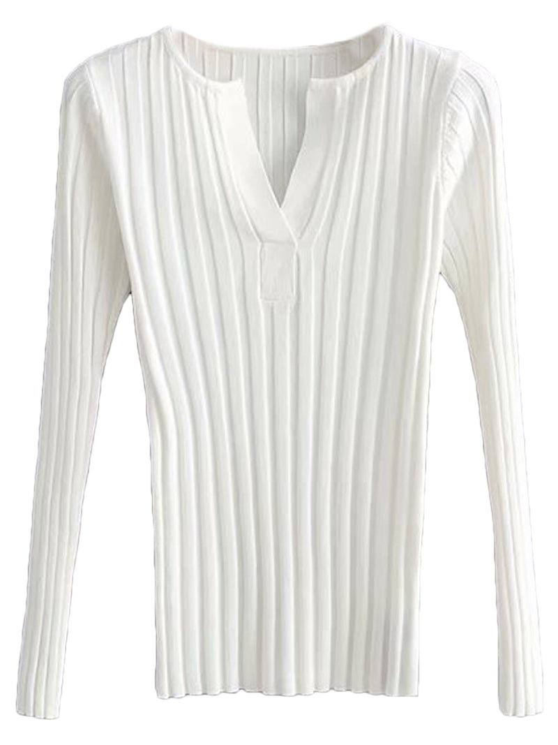 'Destiny' Essentail V Neck Ribbed Knit Top (4 Colors)