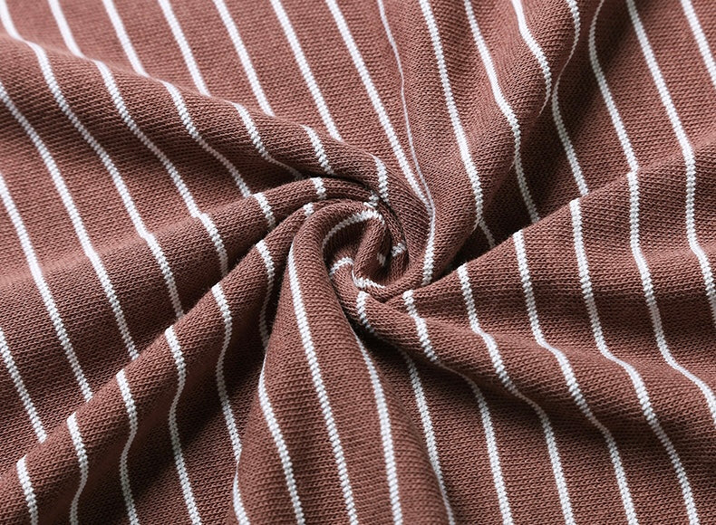 Goodnight Macaroon 'Alora' Oversized Striped T-Shirt Brown Fabric