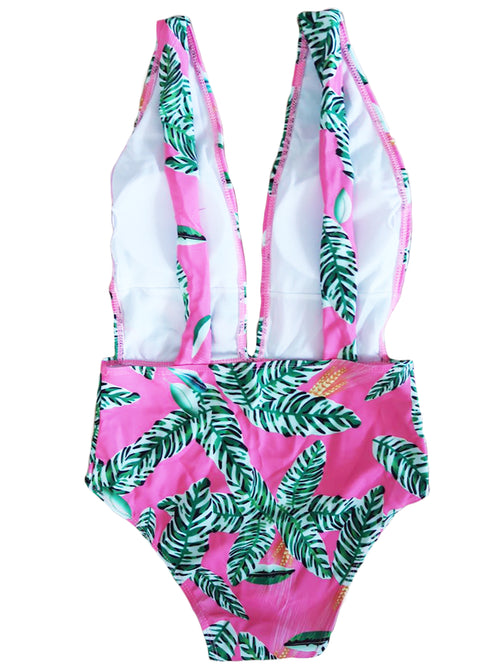 'Milan' Pink Palm Print Swimsuit