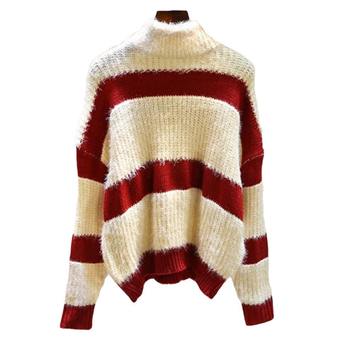 'Rochelle' Striped Turtleneck Sweater
