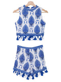 'Cherrine' Blue Printed Tassel Co Ords