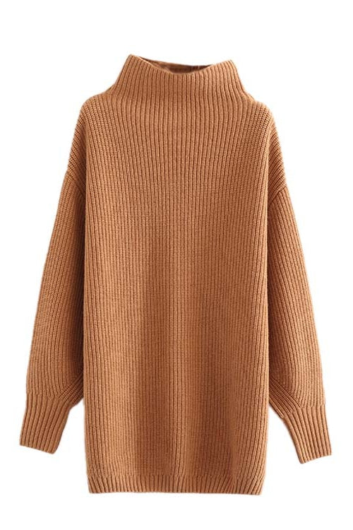 'Parker' Oversized Ribbed Knitted Turtleneck Sweater