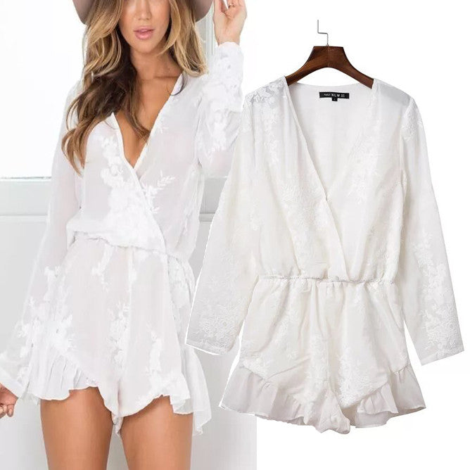 'Sailor' White Lace Crochet V-neck Romper
