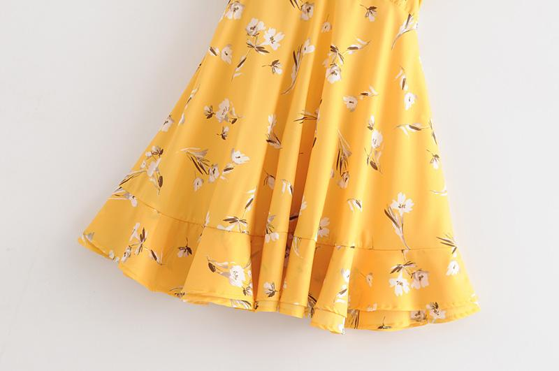 Goodnight Macaroon 'Rosemary' Yellow Floral Frilly Tied Sundress Skirt