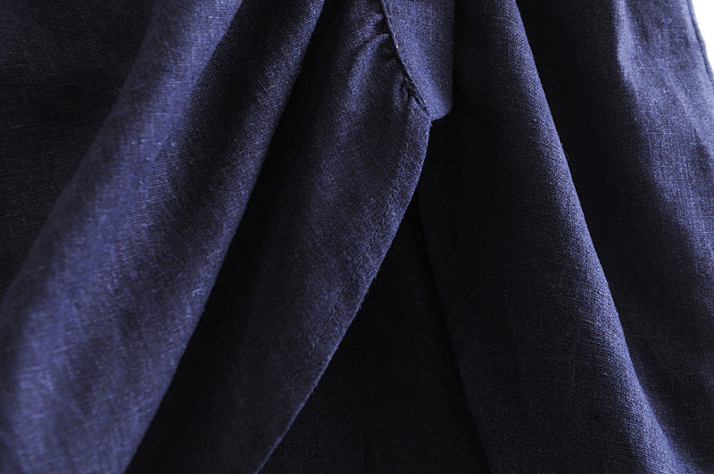Goodnight Macaroon 'Winifred' Dark Blue Chambray Button Up Wrap Skirt Material