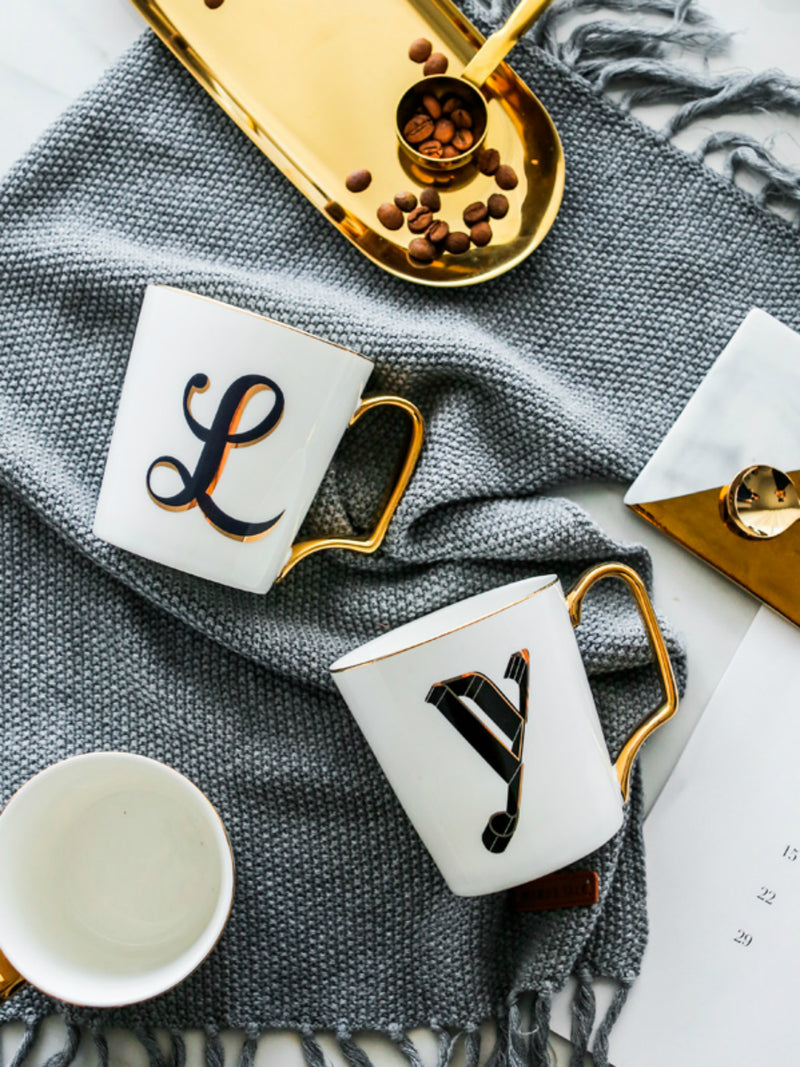 'Rue' Monogram Gold Handle Mug