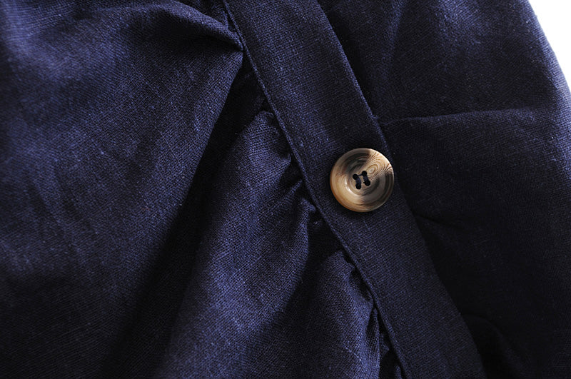 Goodnight Macaroon 'Winifred' Dark Blue Chambray Button Up Wrap Skirt Button
