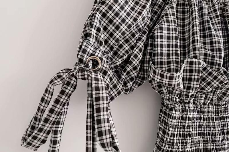 Goodnight Macaroon 'Rebecca' Gingham Off-the-Shoulder Top and Pants Set Sleeve