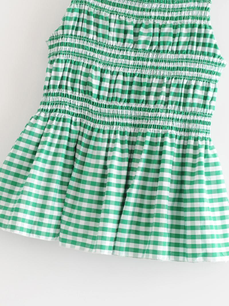 Goodnight Macaroon 'Trina' Green Gingham Ruched Peplum Top Details