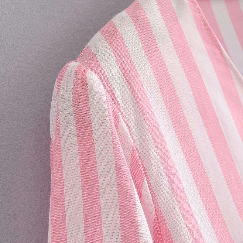 Goodnight Macaroon 'Kaley' Striped Ruffle Short Sleeved Top Pink Material