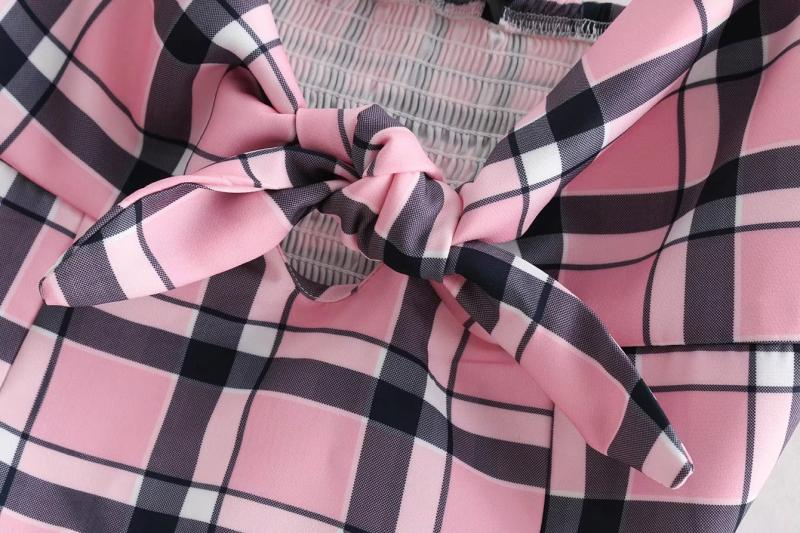 Goodnight Macaroon 'Hester' Pink Plaid Front Tied Strap Crop Top Bow