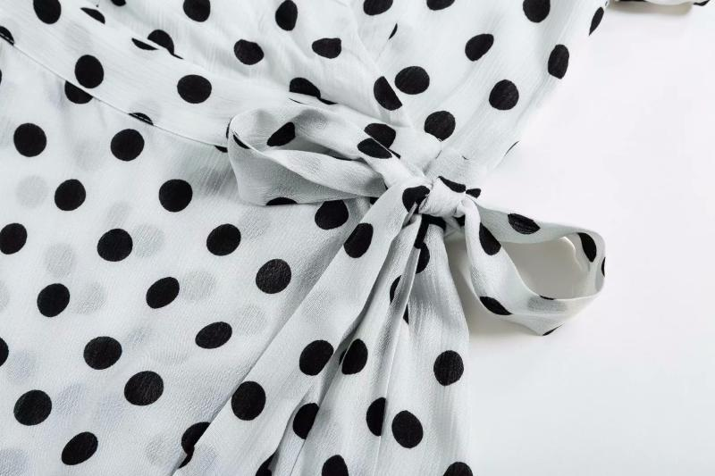 Goodnight Macaroon 'Wendy' Polka Dot Waist Tied Wrap Dress White Belt