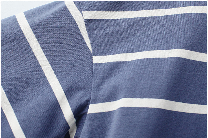 Goodnight Macaroon 'Zoya' Striped Cotton Oversized T-Shirt Blue Material