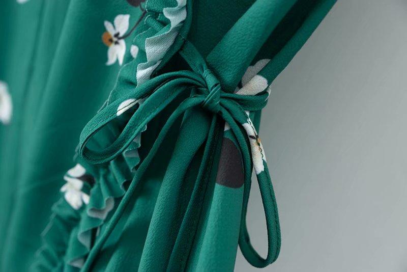 Goodnight Macaroon 'Kesha' Floral Green Frilled Wrap Dress Belt