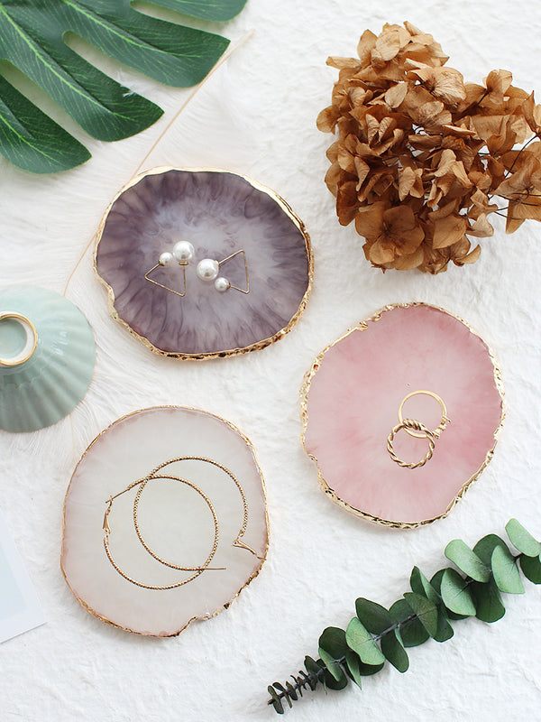 'Agate' Plate with Gold Trim (Set of 3)