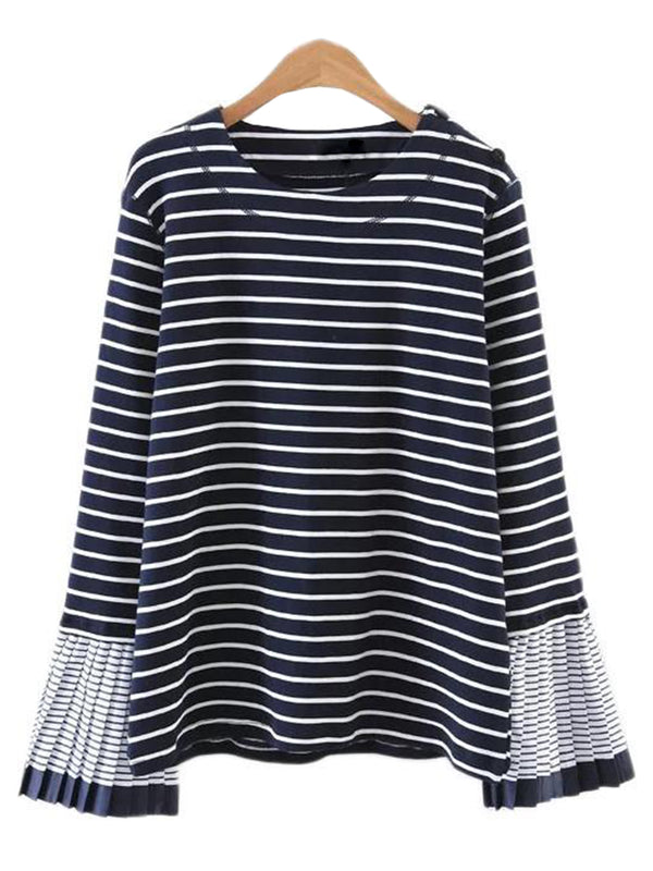 'Tiffany' Stripe Top with Pleated Bell Sleeves