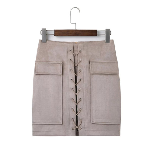 'Georgia' Suede Lace Up Pencil Skirt