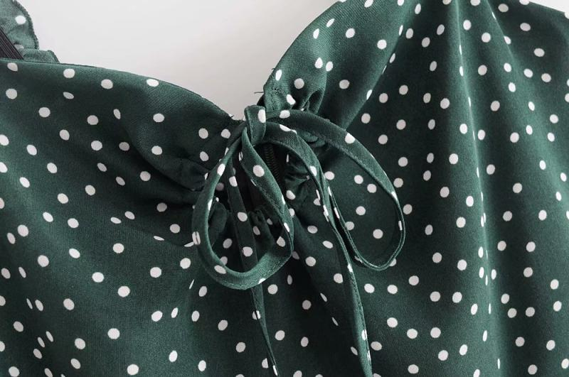 Goodnight Macaroon 'Irene' Polka Dot Sundress Green Bow