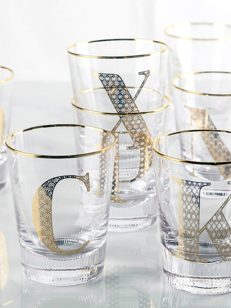 'Crystal' Monogram Gold Print Glass