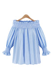 Goodnight Macaroon 'Sia' Off The Shoulder Pinstripe Top