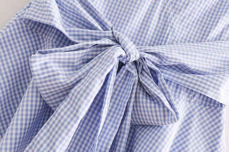 Goodnight Macaroon 'Reagan' Gingham Front Tied Sleeveless Flare Top Blue Bow