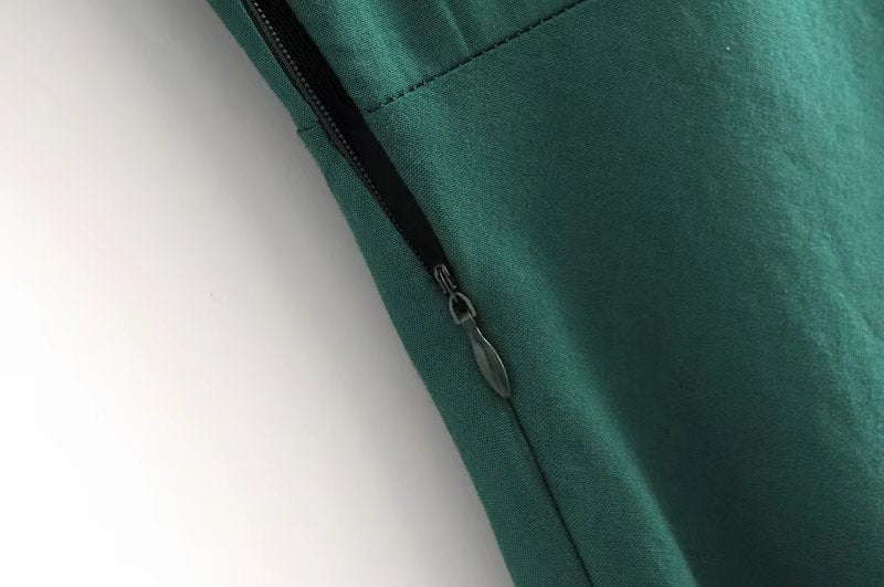 Goodnight Macaroon 'Gamila' Emerald Green Front Tied Midi Zipper