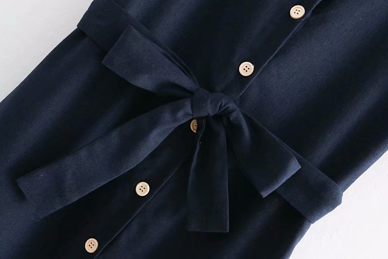 Goodnight Macaroon 'Leandra' Navy Blue Button Front Waist Tied Midi Dress Belt