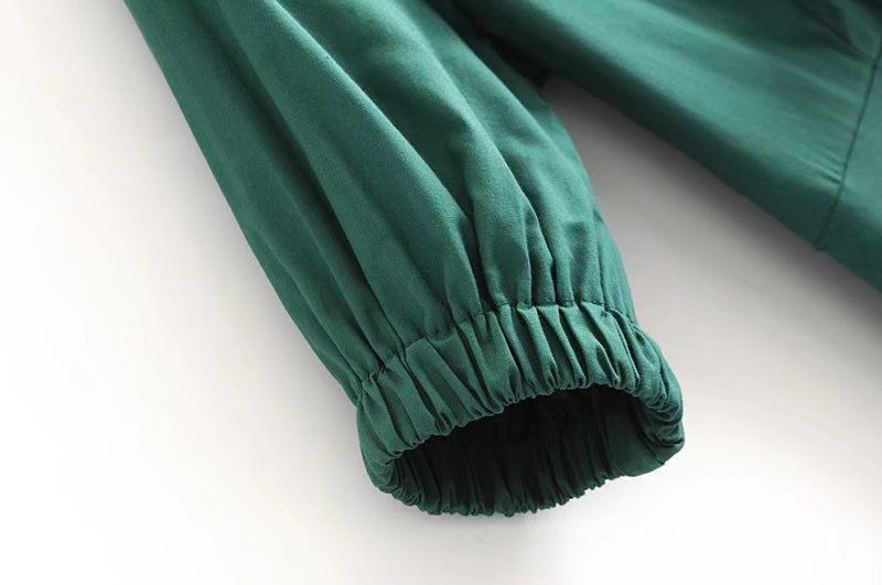 Goodnight Macaroon 'Gamila' Emerald Green Front Tied Midi Dress Sleeve