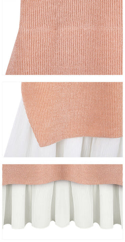 { 2 Colors Pink / Black } Classic Mock Layer Sweater - Goodnight Macaroon