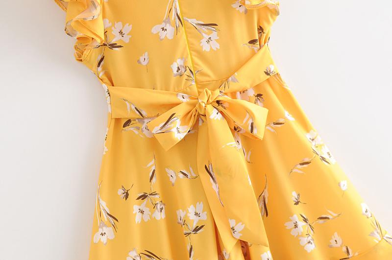 Goodnight Macaroon 'Rosemary' Yellow Floral Frilly Tied Sundress Belt