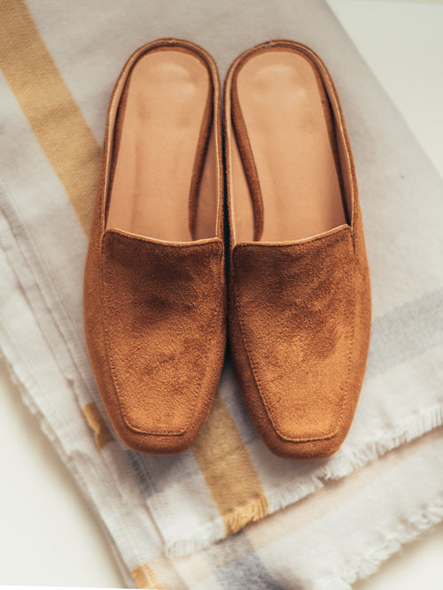 Wandy' Tan Suede Leather Slippers