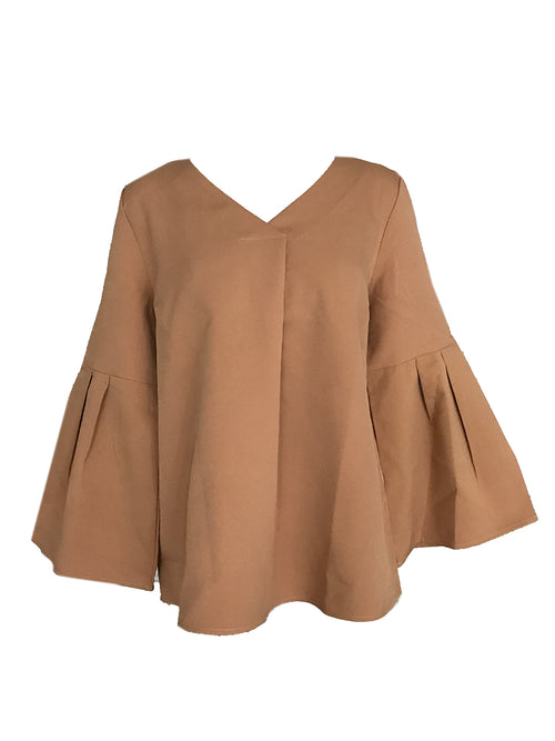 'Crawford' Tan Bell Sleeve Blouse