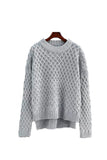 'Tangela' Criss Cross Knitted Sweater - Gray - Goodnight Macaroon