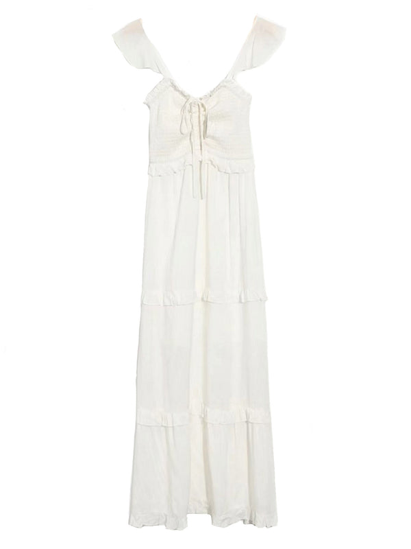 'Charis' Ruched Ruffle Tiered Maxi Dress