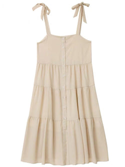 'Valerie' Tie Strap Button Tiered Midi Dress