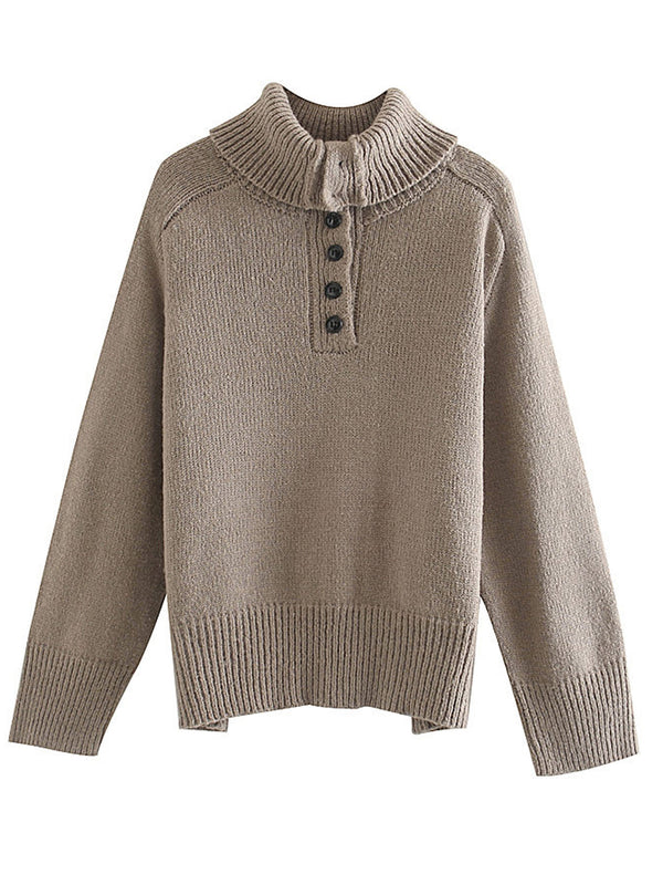 'Eve' Turtleneck Button Sweater