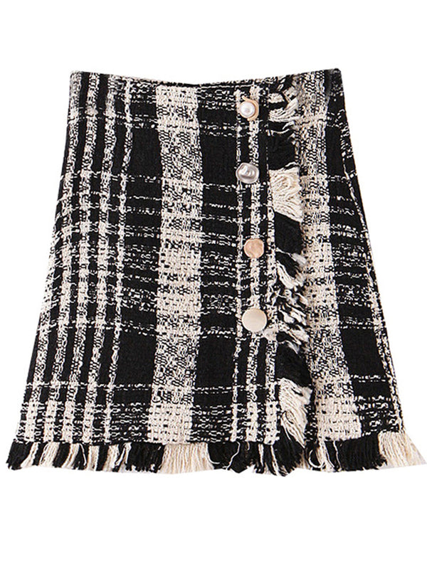 'Jacqueline' Black and White Tweed Mini Skirt