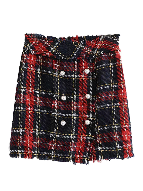 'Jess' Tweed Material Plaid Mini Skirt with Buttons